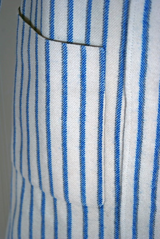 1960's Hermes Paris Blue & Ivory Pinstripe Wool Mod Skirt Jacket Suit Ensemble 5