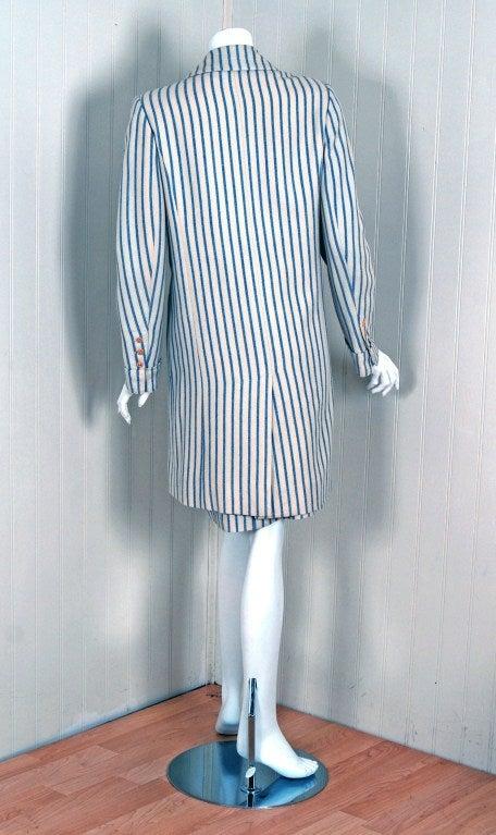1960's Hermes Paris Blue & Ivory Pinstripe Wool Mod Skirt Jacket Suit Ensemble For Sale 1
