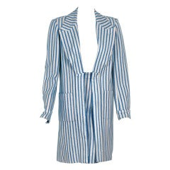 1978 Hermes Paris Blue & Ivory Pinstripe Wool Mod Skirt Jacket Suit Ensemble