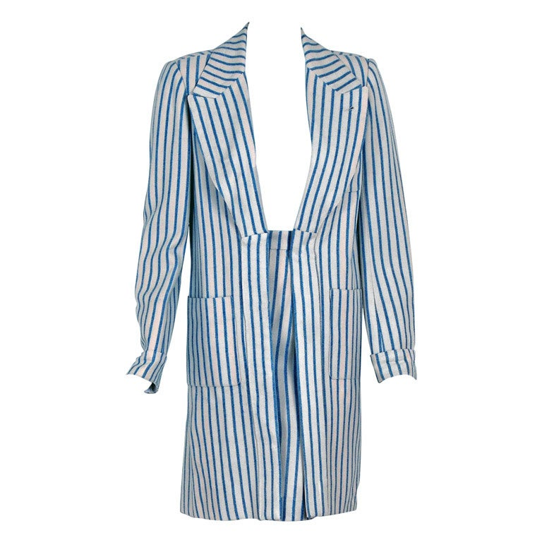 1960's Hermes Paris Blue & Ivory Pinstripe Wool Mod Skirt Jacket Suit Ensemble