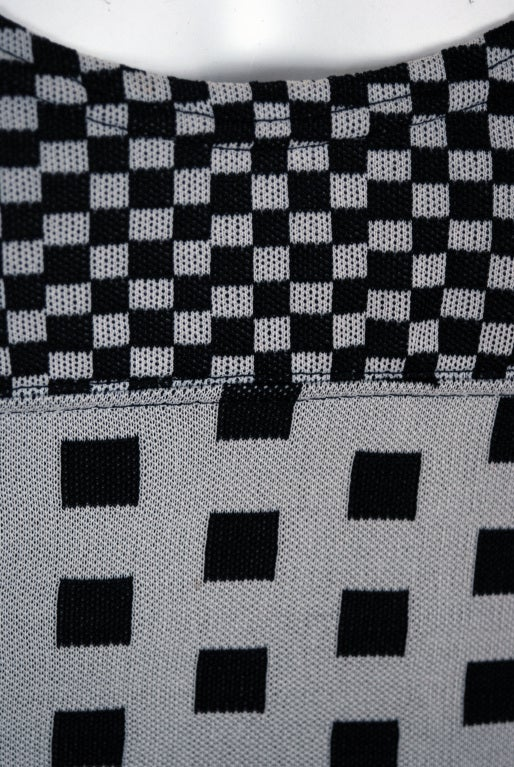 1971 Rudi Gernreich Op-Art Gray & Black Checkered Dress & Vest For Sale 1
