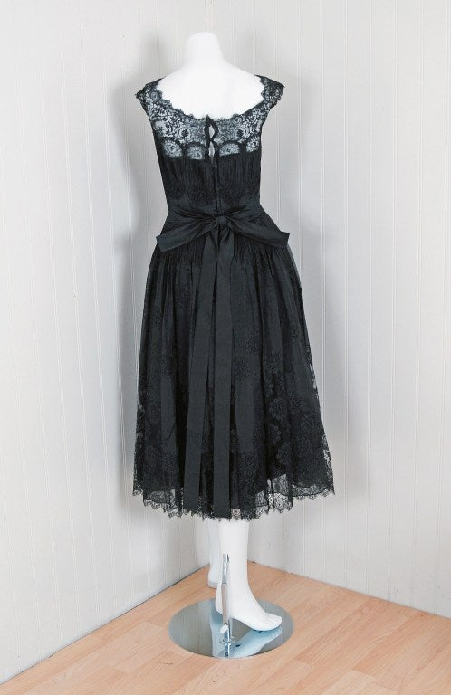 1950 S Harvey Berin Black Chantilly Lace And Pintuck Silk