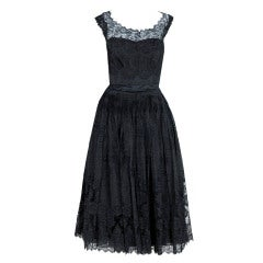 1950's Harvey Berin Black Chantilly-Lace & Pintuck Silk Illusion Party Dress