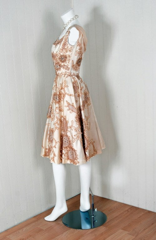 Beige 1950's Ceil Chapman Rhinestone Metallic Floral Applique Ivory-Satin Party Dress For Sale