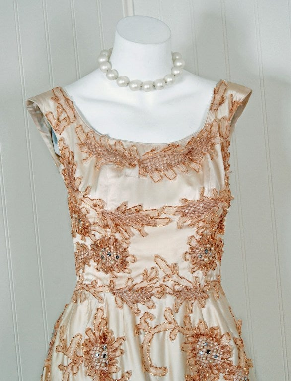 1950's Ceil Chapman Rhinestone Metallic Floral Applique Ivory-Satin Party Dress In Excellent Condition For Sale In Beverly Hills, CA