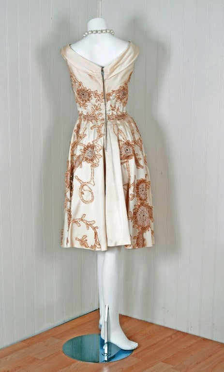 1950's Ceil Chapman Rhinestone Metallic Floral Applique Ivory-Satin Party Dress For Sale 1