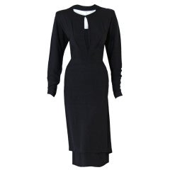 1940's Adrian Original Black Rayon Cut-Out Hourglass Dress