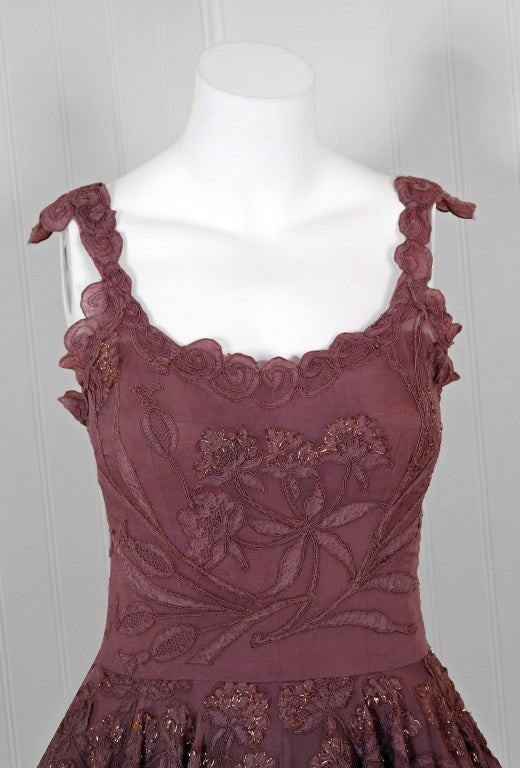 1950's Don Loper Metallic Mocha Chiffon & Chantilly-Lace Dress image 2