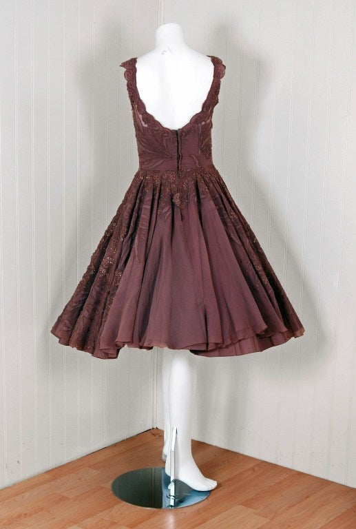 1950's Don Loper Metallic Mocha Chiffon & Chantilly-Lace Dress 4