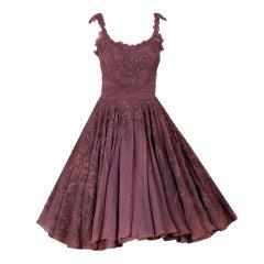 1950's Don Loper Metallic Mocha Chiffon & Chantilly-Lace Dress