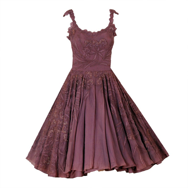1950's Don Loper Metallic Mocha Chiffon & Chantilly-Lace Dress