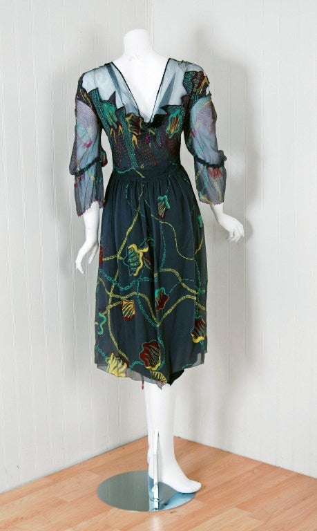 1970's Zandra Rhodes Beaded Hand-Painted Illusion Silk Chiffon Dress In Excellent Condition For Sale In Beverly Hills, CA