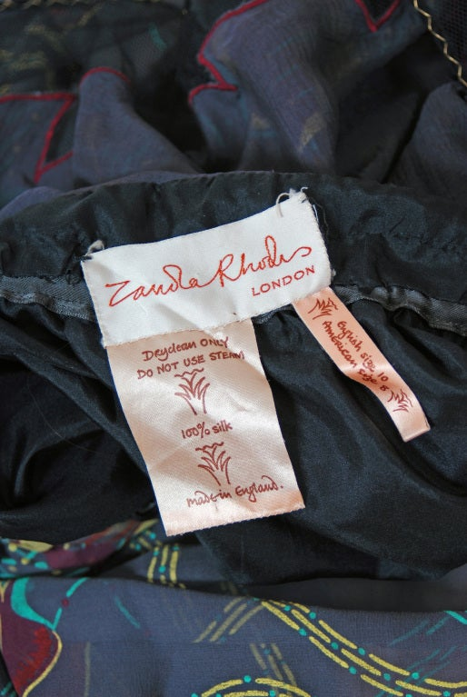 Women's 1970's Zandra Rhodes Beaded Hand-Painted Illusion Silk Chiffon Dress For Sale
