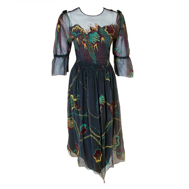 1970's Zandra Rhodes Beaded Hand-Painted Illusion Silk Chiffon Dress