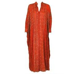 1970's Beverly Hills Metallic Embroidered Sequin Silk Caftan