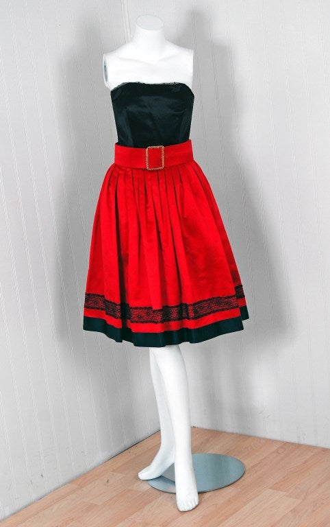 1990's Chanel Black & Red Satin Strapless Party Dress Ensemble 2
