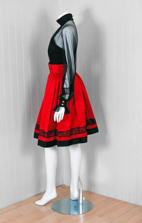 1990's Chanel Black & Red Satin Strapless Party Dress Ensemble 3