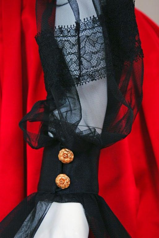 1990's Chanel Black & Red Satin Strapless Party Dress Ensemble 4