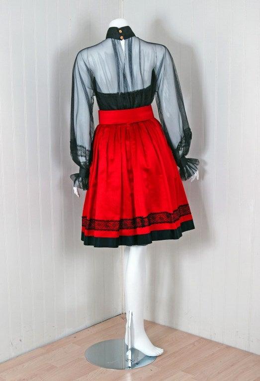1990's Chanel Black & Red Satin Strapless Party Dress Ensemble 5
