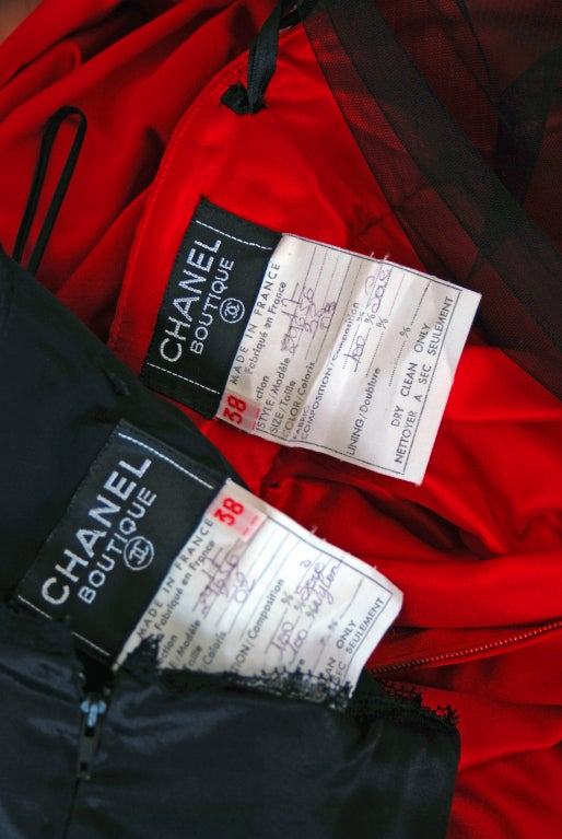 1990's Chanel Black & Red Satin Strapless Party Dress Ensemble 6