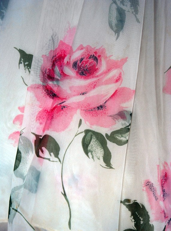 1950's Watercolor Pink-Roses Floral Strapless Full Party Dress 4