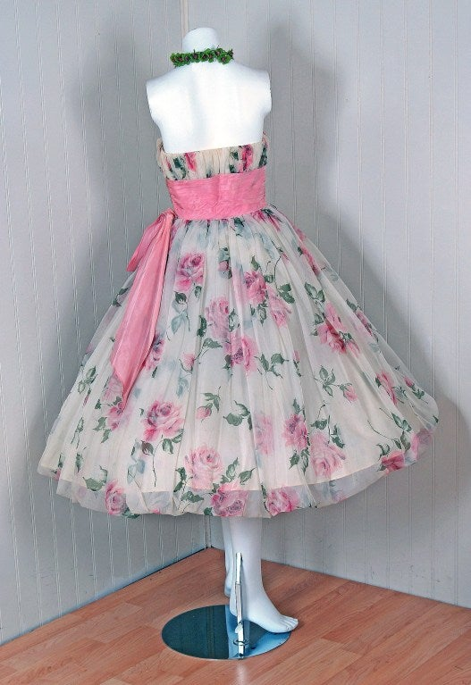 1950's Watercolor Pink-Roses Floral Strapless Full Party Dress 5