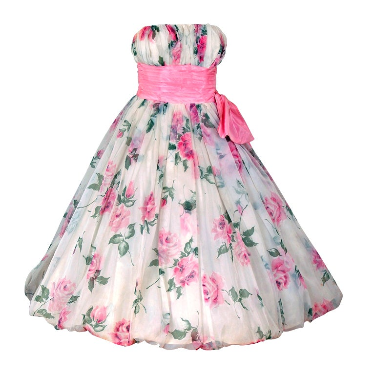 1950's Watercolor Pink-Roses Floral Strapless Full Party Dress 1