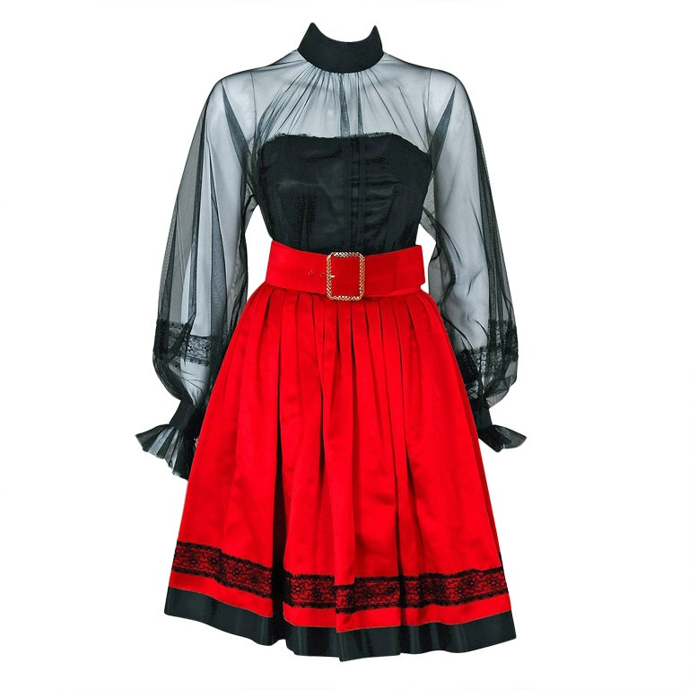 1990's Chanel Black & Red Satin Strapless Party Dress Ensemble 1
