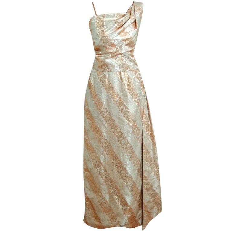 1940's Metallic-Gold & Ivory Silk One-Shoulder Grecian Gown 1