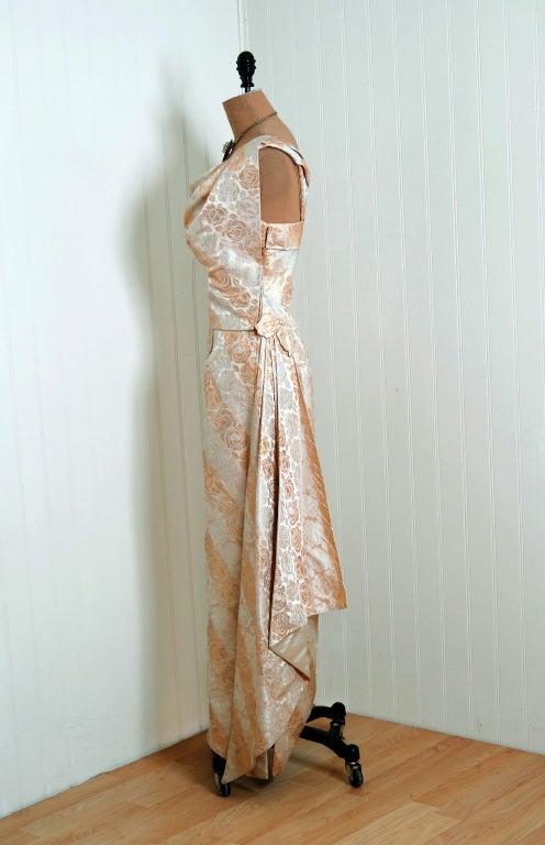 1940's Metallic-Gold & Ivory Silk One-Shoulder Grecian Gown 2