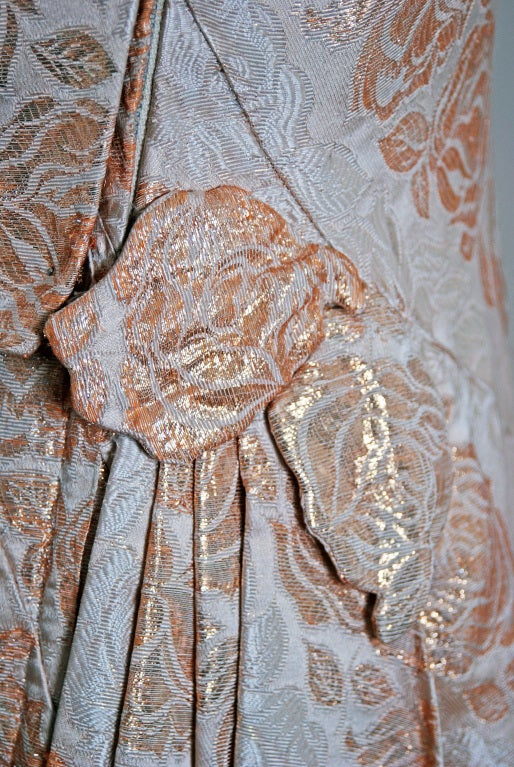 1940's Metallic-Gold & Ivory Silk One-Shoulder Grecian Gown 3