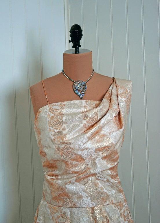 1940's Metallic-Gold & Ivory Silk One-Shoulder Grecian Gown 4