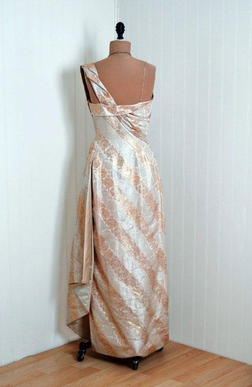 1940's Metallic-Gold & Ivory Silk One-Shoulder Grecian Gown 5