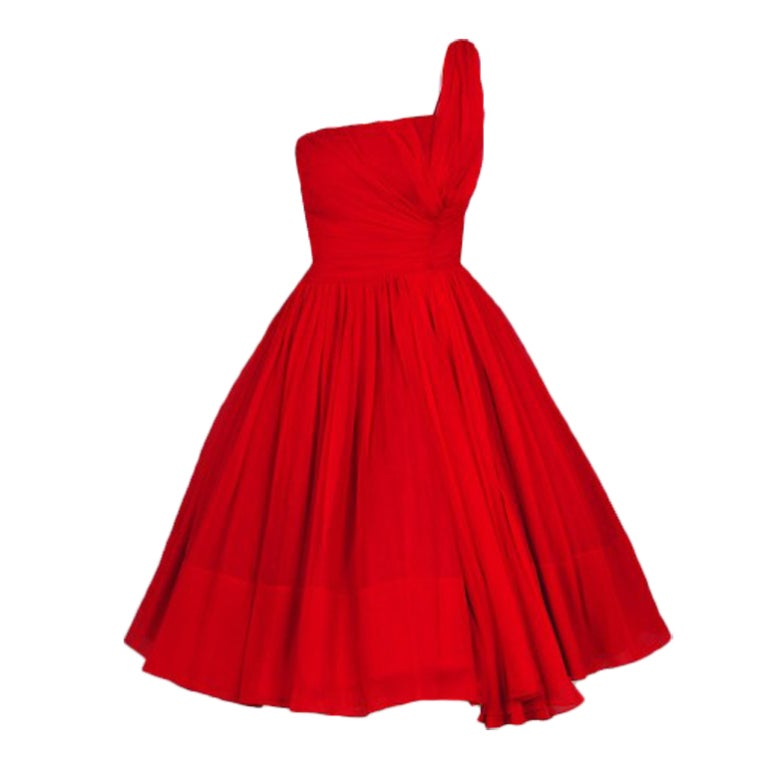 1950's Ruby-Red Silk Chiffon Ruched Asymmetric Party Dress For Sale