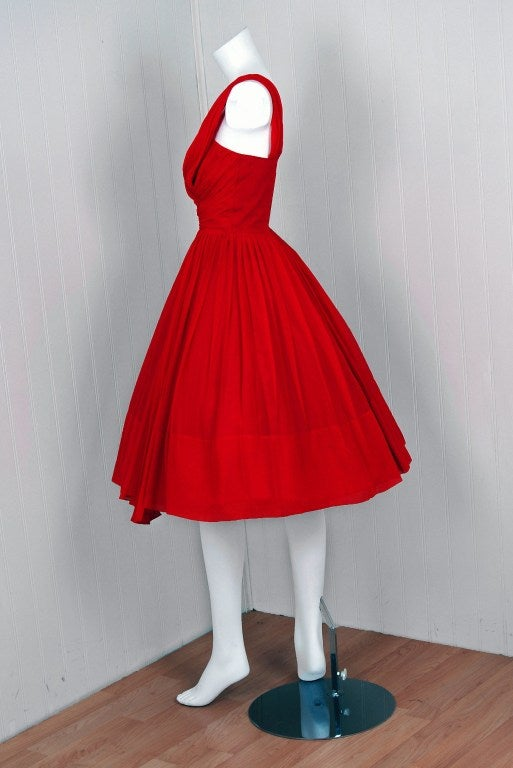 Women's 1950's Ruby-Red Silk Chiffon Ruched Asymmetric Party Dress For Sale