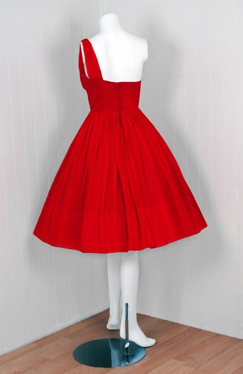 1950's Ruby-Red Silk Chiffon Ruched Asymmetric Party Dress For Sale 1