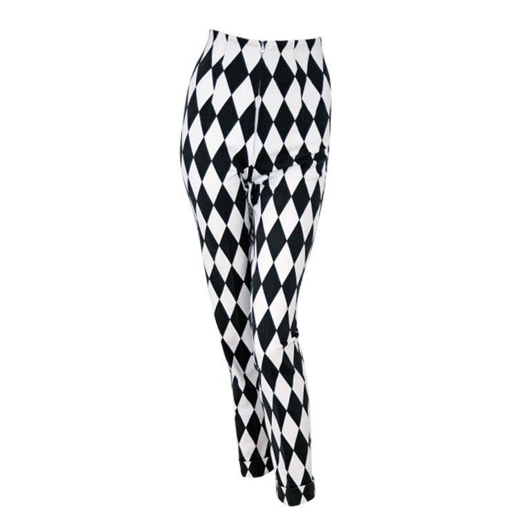 1990's Gianni Versace Harlequin Rare Black & White Skinny Jeans 1