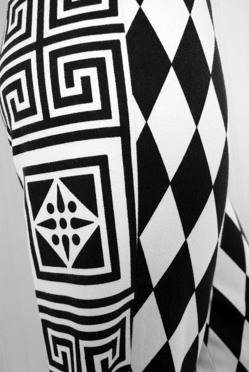 1990's Gianni Versace Harlequin Rare Black & White Skinny Jeans 2