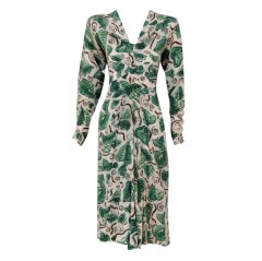 1940's Adrian Original Green Leaves Print Silk Cocktail Dress