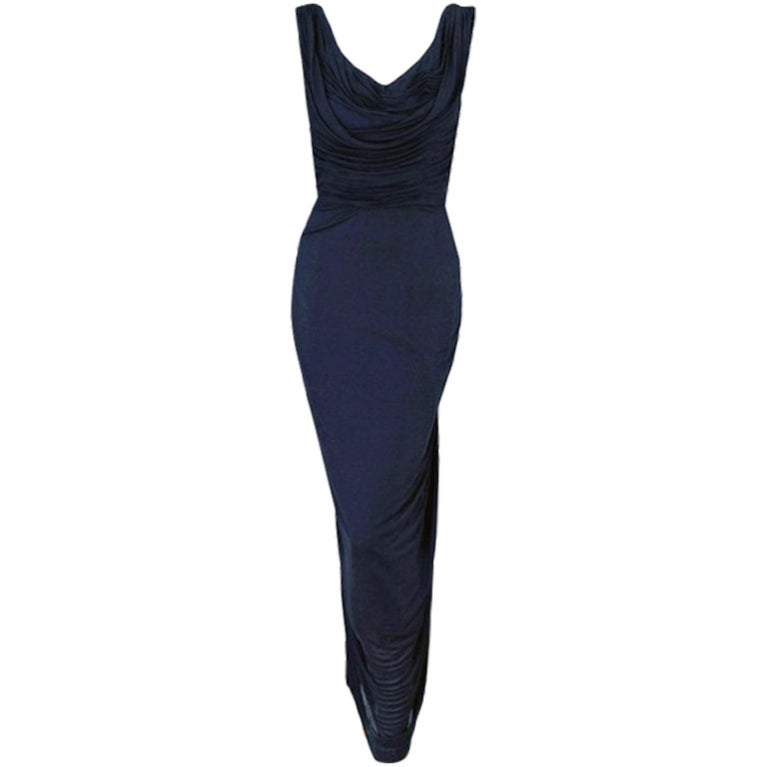 1950's Ceil Chapman Navy-Blue Ruched Silk-Jersey Fishtail Gown 1