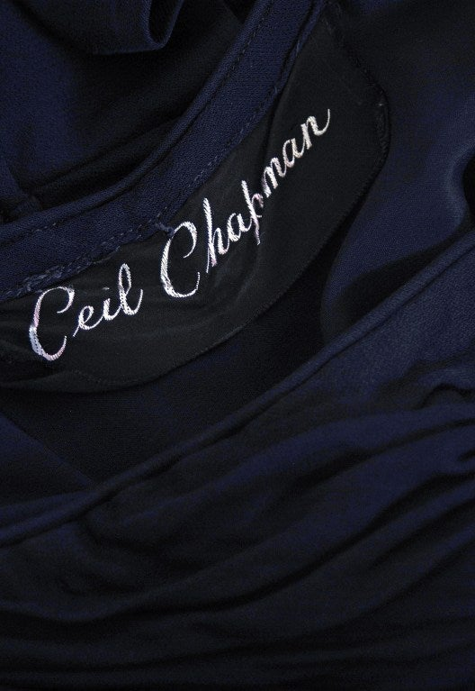 1950's Ceil Chapman Navy-Blue Ruched Silk-Jersey Fishtail Gown 5