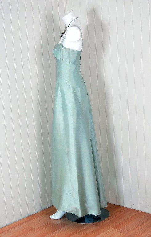 1962 Jean Patou Couture Ice-Blue Silk Plunge Sculptural Goddess Evening Gown 3