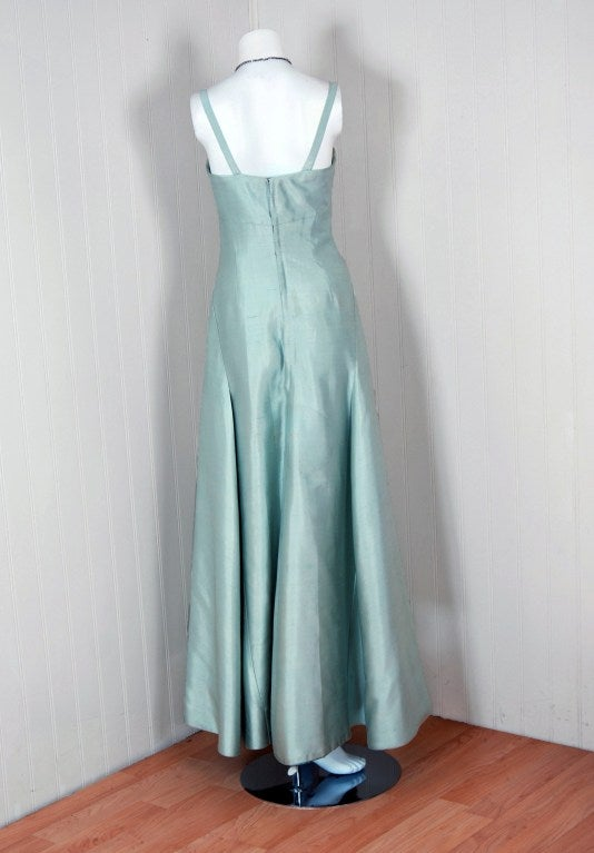 1962 Jean Patou Couture Ice-Blue Silk Plunge Sculptural Goddess Evening Gown 4