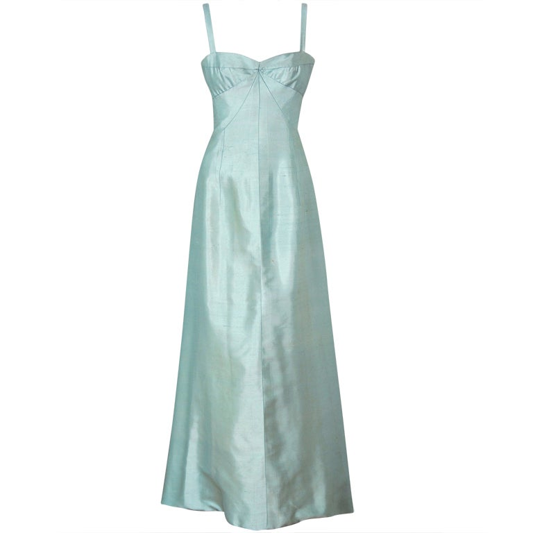 1962 Jean Patou Couture Ice-Blue Silk Plunge Sculptural Goddess Evening Gown 1