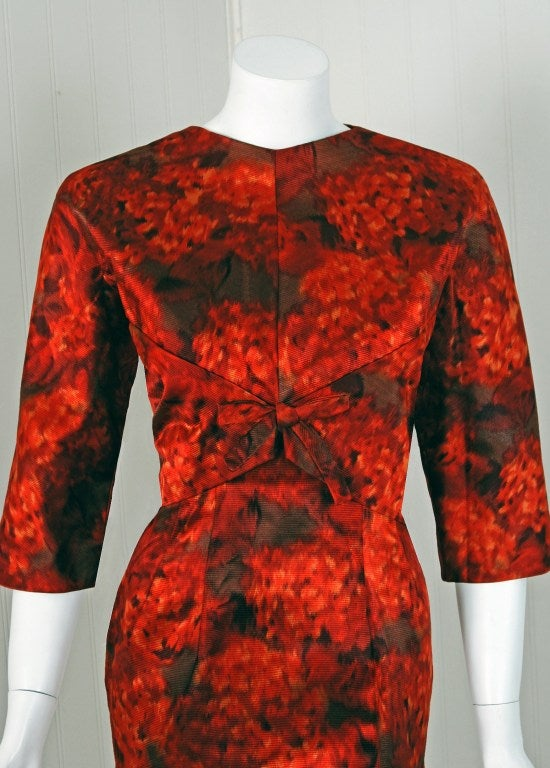 1950's Christian Dior Numbered Couture Floral-Silk Dress & Coat 2
