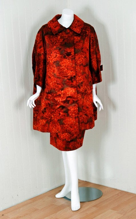1950's Christian Dior Numbered Couture Floral-Silk Dress & Coat 4