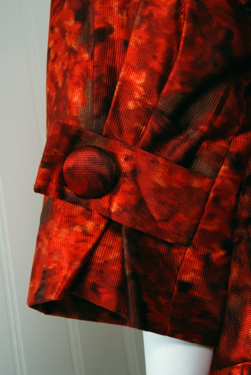 1950's Christian Dior Numbered Couture Floral-Silk Dress & Coat 5