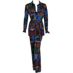 1970's Lanvin Novelty-Print Knit Belted Pant Suit Set Ensemble
