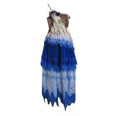 1970's Gunn Trigere One-Shoulder Ombre Tiered-Leaves Silk Dress