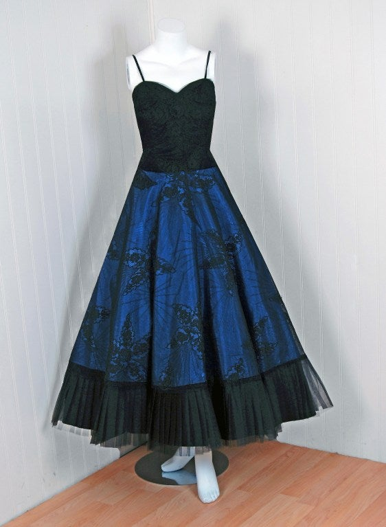 1950's Rosita Contreras Couture Black Blue Chantilly-Lace Dress 2